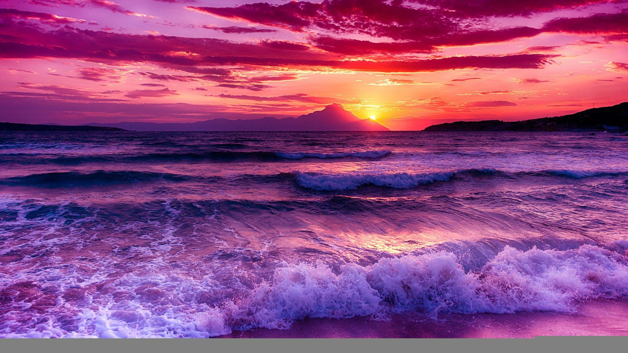 Скачать обои закат, море, небо, раздел пейзажи в ...