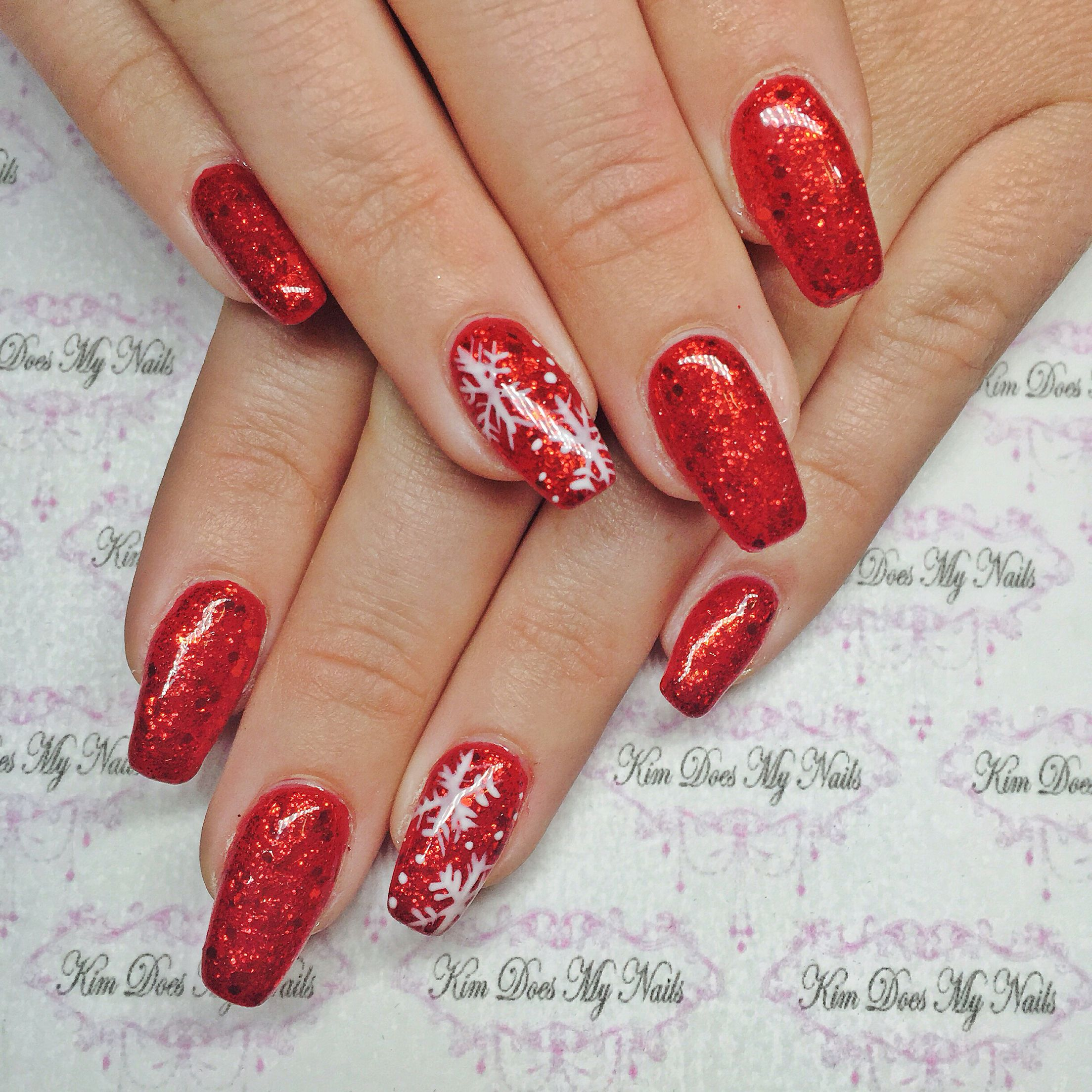 Christmas Nails Designs Coffin: Little Red Sled With Snowflake Coffin Nails