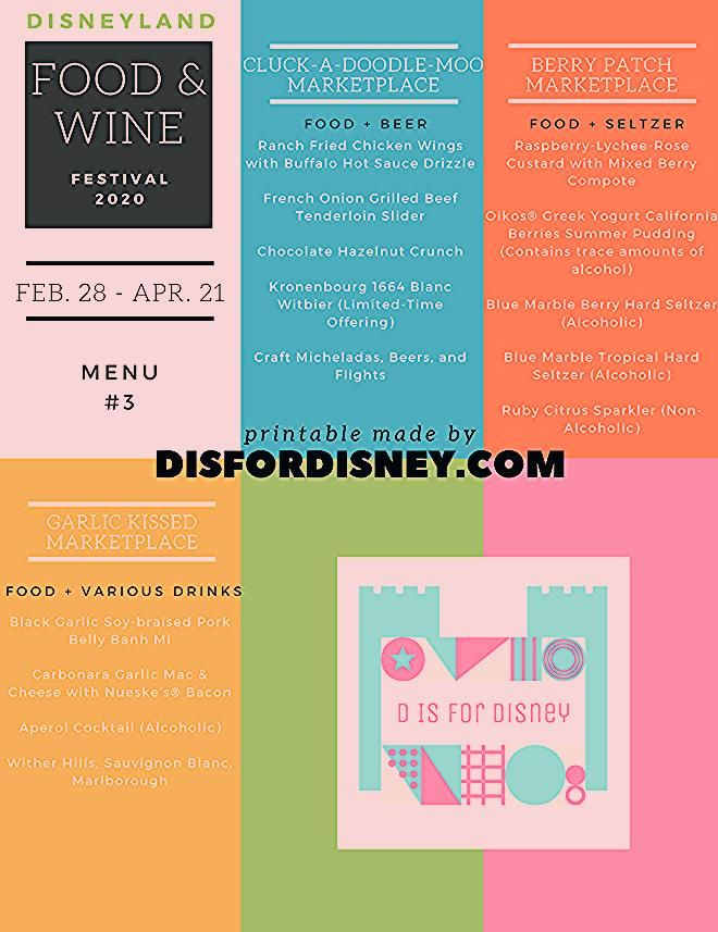 Photo of Printable Disneyland Menu for Food and Wine Festival 2020