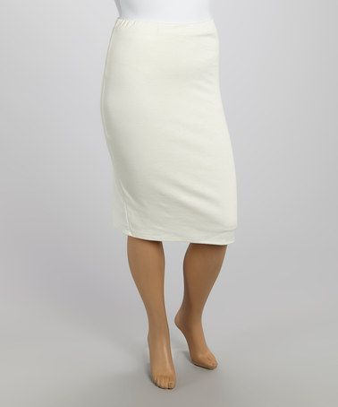 Another great find on #zulily! Ivory Pencil Skirt - Plus by MOA Collection #zulilyfinds