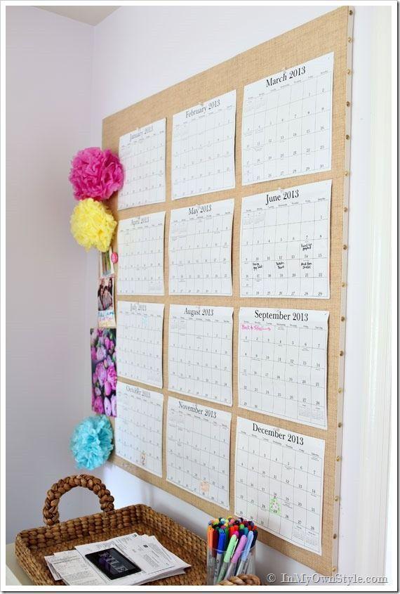 Diy Wall Calendar Business Side Of Blogging Desk Organization