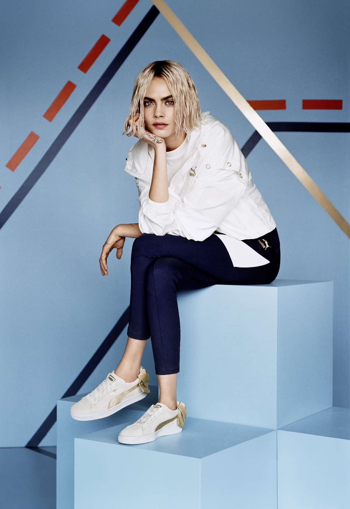 aedc557284d Cara Delevingne – Puma Suede Bow Varsity Trainer Campaign  caradeleningne   puma  campaign  photoshoot  celebrities  shoes