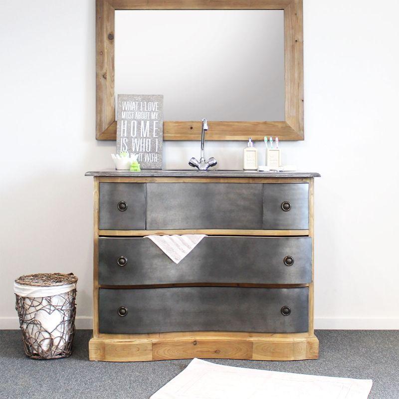 meuble salle de bain bois massif style industriel 1 vasque mtal made in meubles - Meuble Salle De Bain Bois 1 Vasque