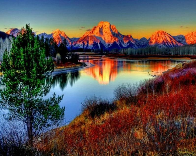 Mountain Sunset Over The River Paint By Numbers Cross Paintings Landscape Paintings Mountain Pictures