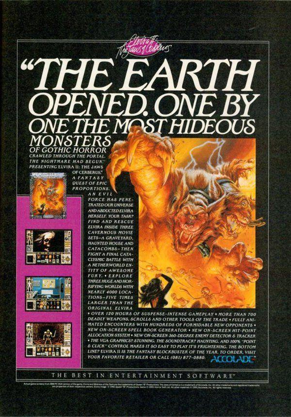 Elvira 2 Computer Game Poster Gaming Horror Video Games