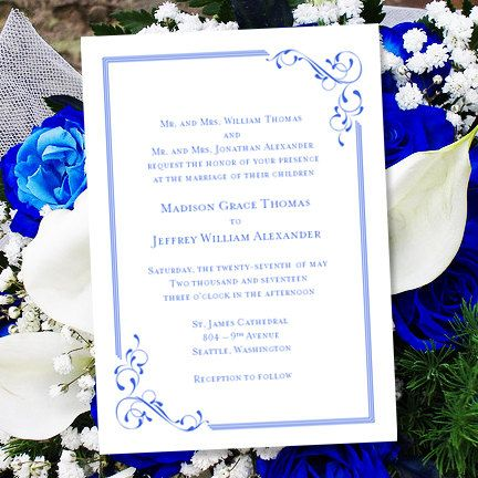 Printable Wedding Invitation Template Elegance Royal Blue Word
