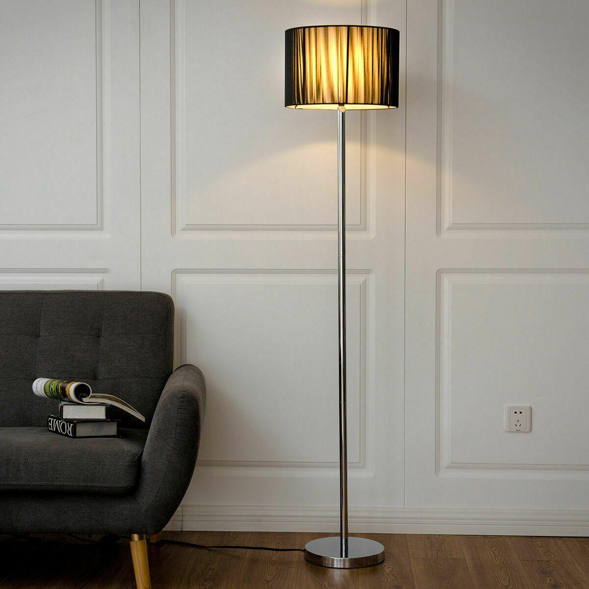 Details About Modern Floor Lamp Sheer Shade Lighting Livingroom Bedroom W Led Bulb Black Modern Floor Lamps Stainless Floor Lamp Classic Floor Lamps