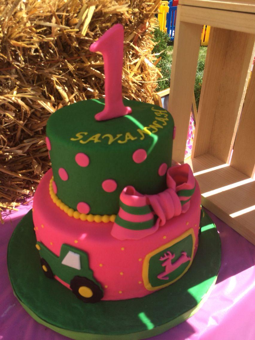 John Deere tractor 1st birthday girls cake | Baby Girls John Deere ...