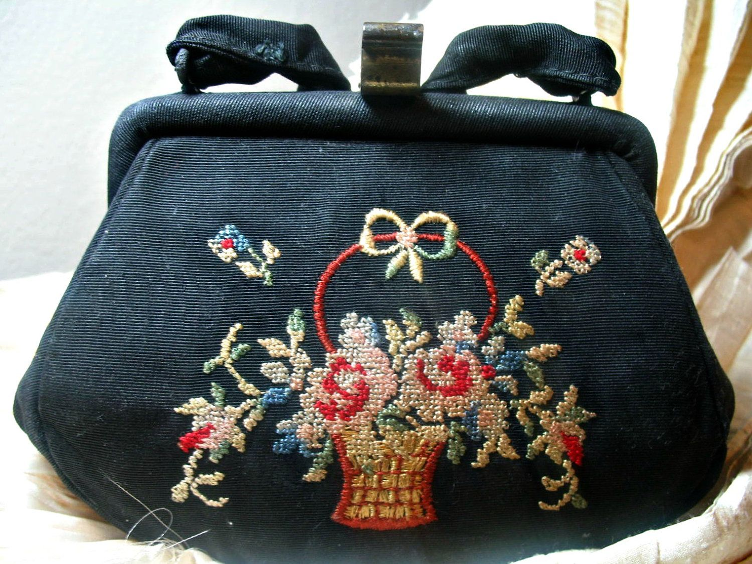 Gorgeous antique Chenille Embroidery Very old and Gorgeous Basket Design Black Purse