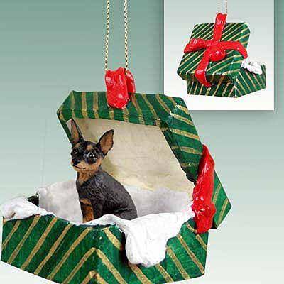 Animal Den Miniature Pinscher Tan Black Dog Green Gift Box Ornament