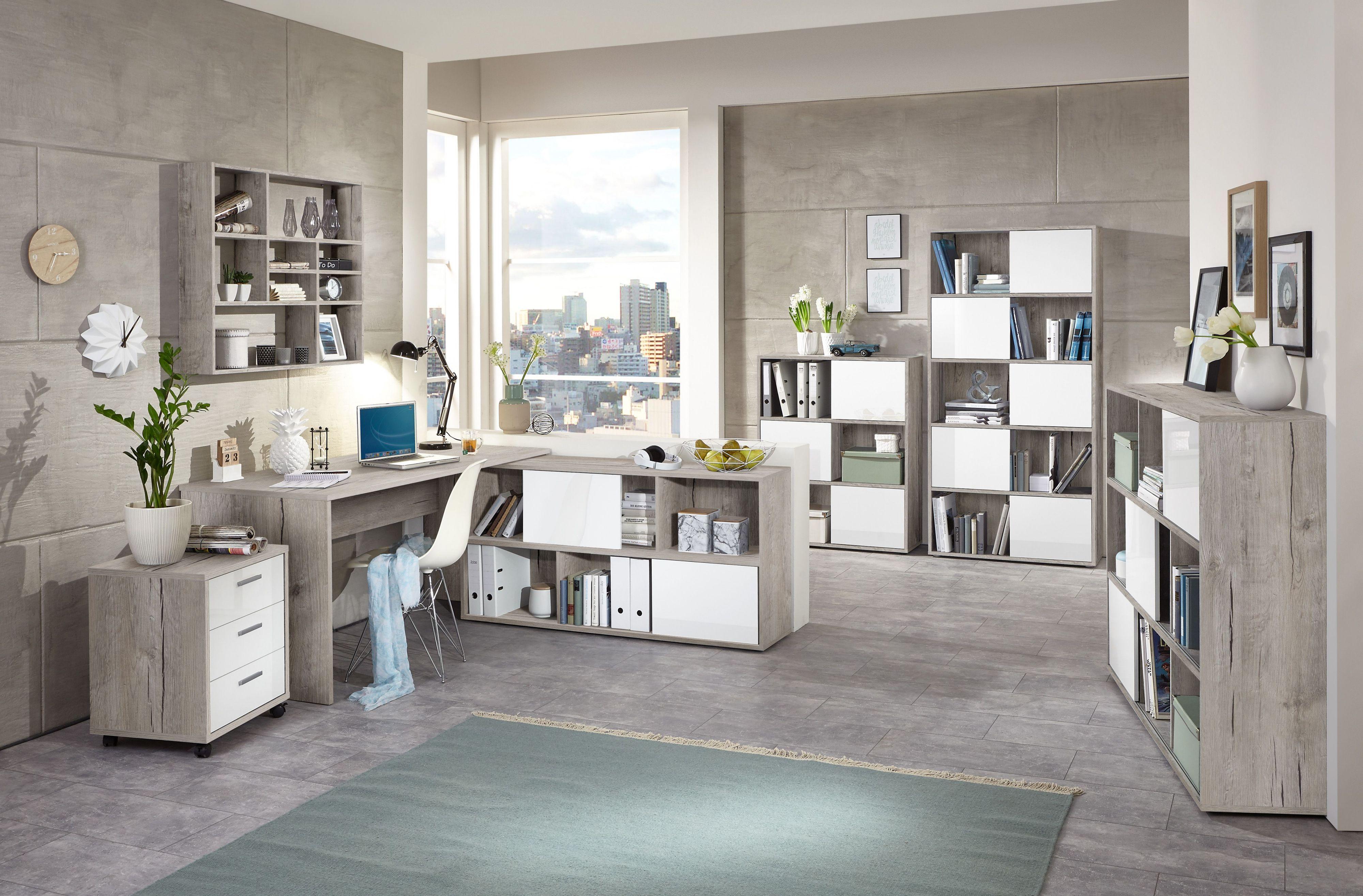 Moderne büromöbel weiss  Büromöbel Sandeiche Nachbildung/ Hochglanz Weiss Mit Schreibtisch ...