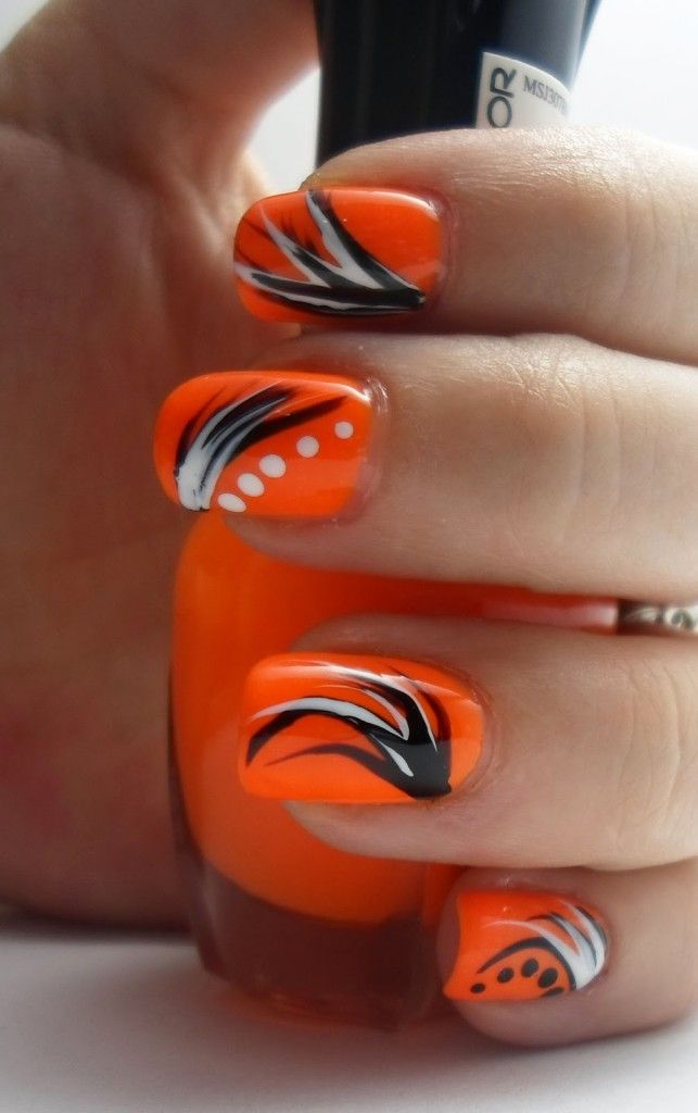 18 Pretty Orange Nail Designs In 2018 Nail Art Pinterest
