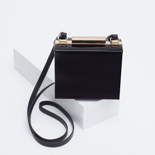 d45d1336b71 Zara Synthetic Patent Leather Box Clutch ( 30) ❤ liked on Polyvore  featuring bags