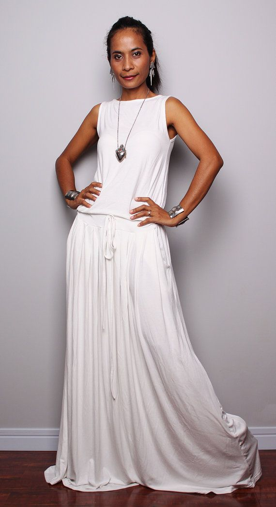 b0f8463e44e9 PLUS SIZE Dress / Off White Maxi Dress Sleeveless by Nuichan ...