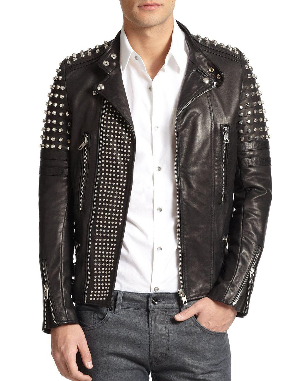 4f078398c0a Men s Black Studded Leather Biker Jacket