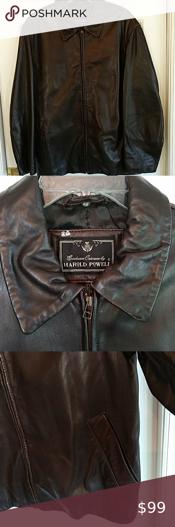Men S Harold Powell Brown Leather Jacket Size L Brown Leather Jacket Leather Jacket Jackets [ 1740 x 580 Pixel ]