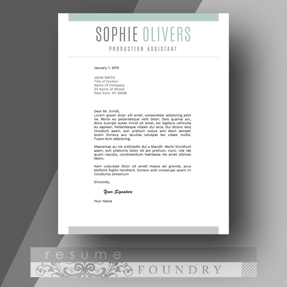 Cover Letter Template By Resume Foundry Modern Professional