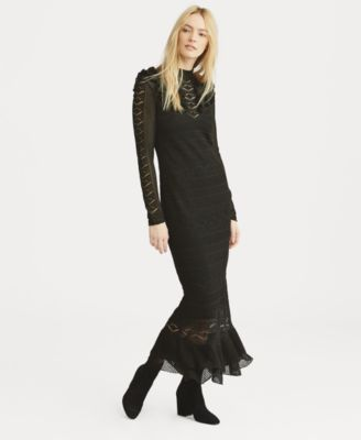 32c63fe48b Polo Ralph Lauren Pointelle-Stitched Midi Dress - Black L | Products ...
