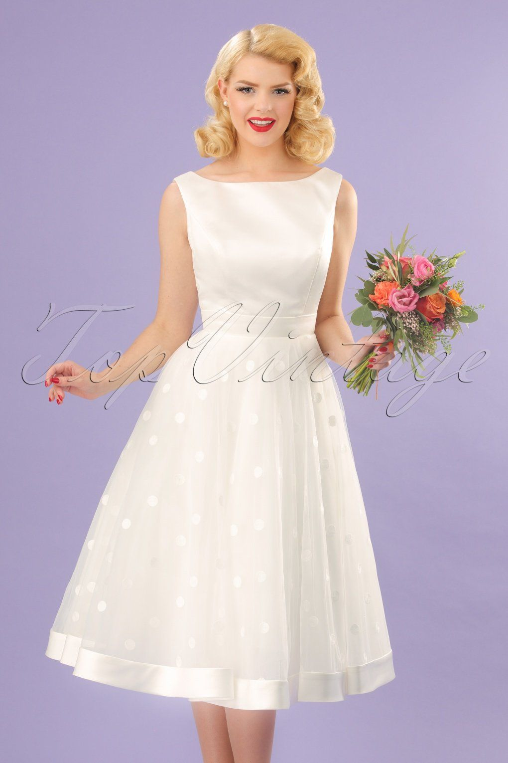 50s Meagan Polkadot Bridal Gown in Ivory White | Vintage Style ...