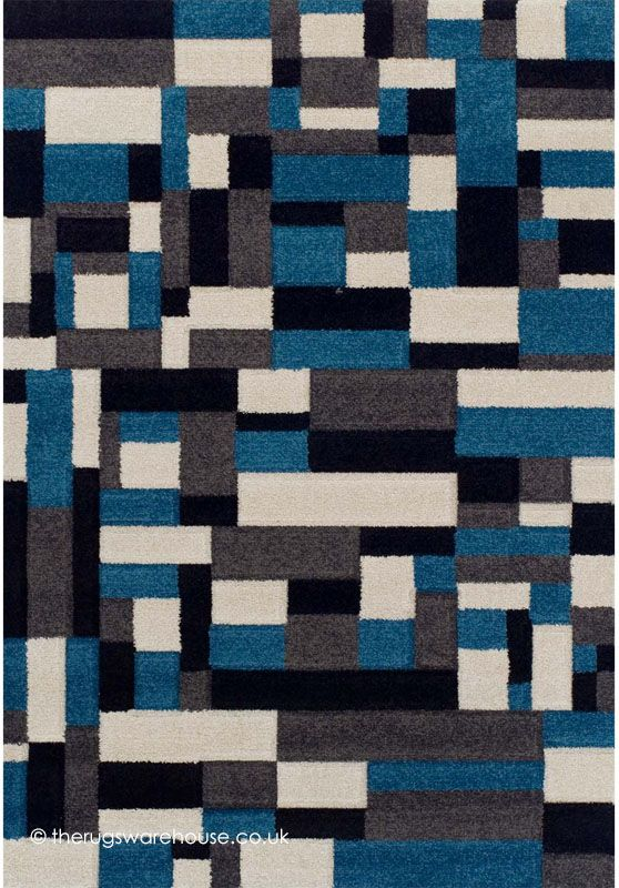 New Portland Geo Blue Rug A Modern Budget Multi Coloured Polypropylene With