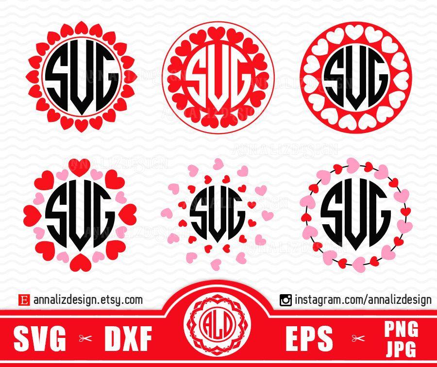 Heart Monogram Svg, Valentine Monogram Svg, Valentine