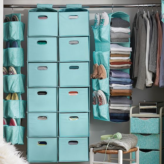 Hanging Closet Sweater Organizer, Sky Blue Solid