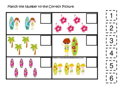 At the Beach themed Match the Number Activity. Preschool