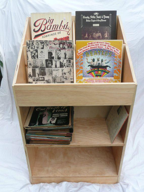 Vinyl Record Album Storage Bin Double Proyek Kayu Kayu