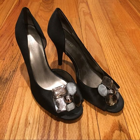 Nine West Satin Bauble Peep-Toe Heels Black satin peep-toe D'Orsay style heels with an adorable decorative bauble detail. Worn only a handful of times, but some wear visible on bottom front of sole and heels (pictured). Overall GUC, however. Smoke free, pet free. Nine West Shoes Heels