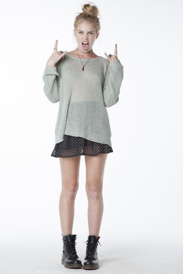 67d28db487 Brandy Melville Cassie Sweater   Heather Skirt Dr. Martens