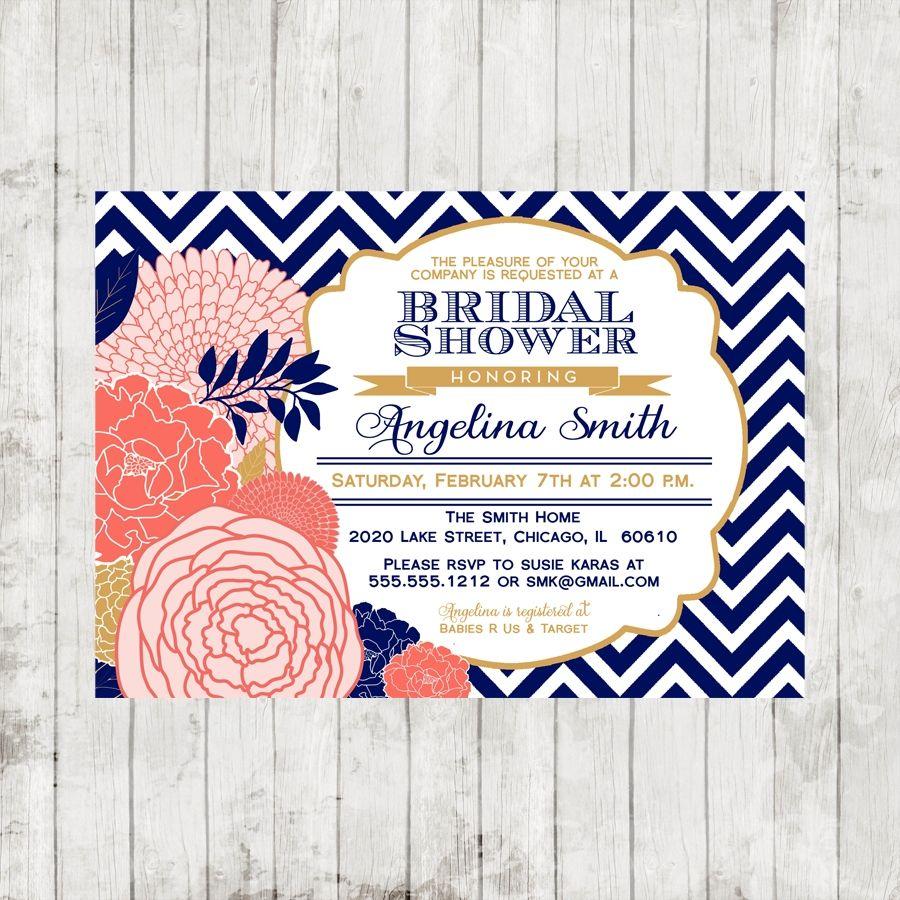 lavender navy gold wedding   Navy Blue, Coral & Gold Bridal Shower ...