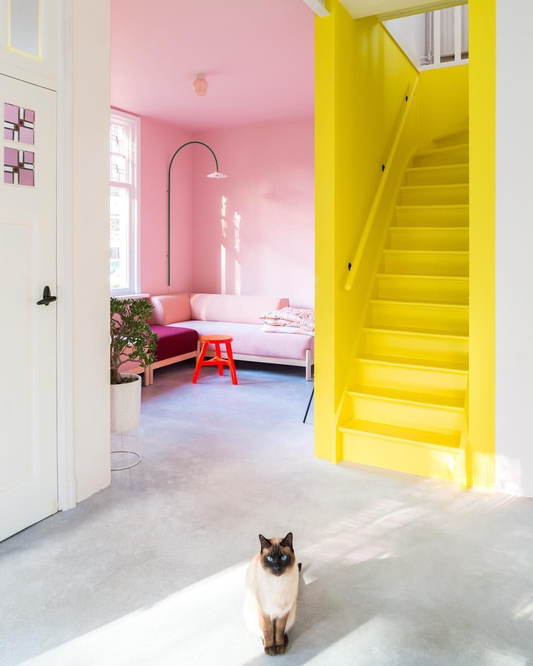 Neon yellow stairs and pink wall combo 🖤 via zilverblauw zilverblauw yellow yellowstairs pinkwall pink stairs neon brightcolours kleurrijk