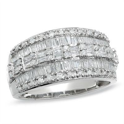 tw oval diamond three stone engagement ring in 14k white gold - White Gold Diamond Wedding Rings