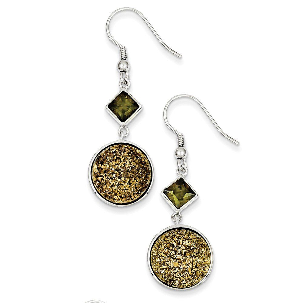 Sterling Silver with Yellow Druzy and Green CZ Round Dangle Earrings. Crafted in Genuine Sterling Silver. Distinctive design. Makes a wonderful gift. Free gift box with every purchase. No hassle 30 day money back guarantee.