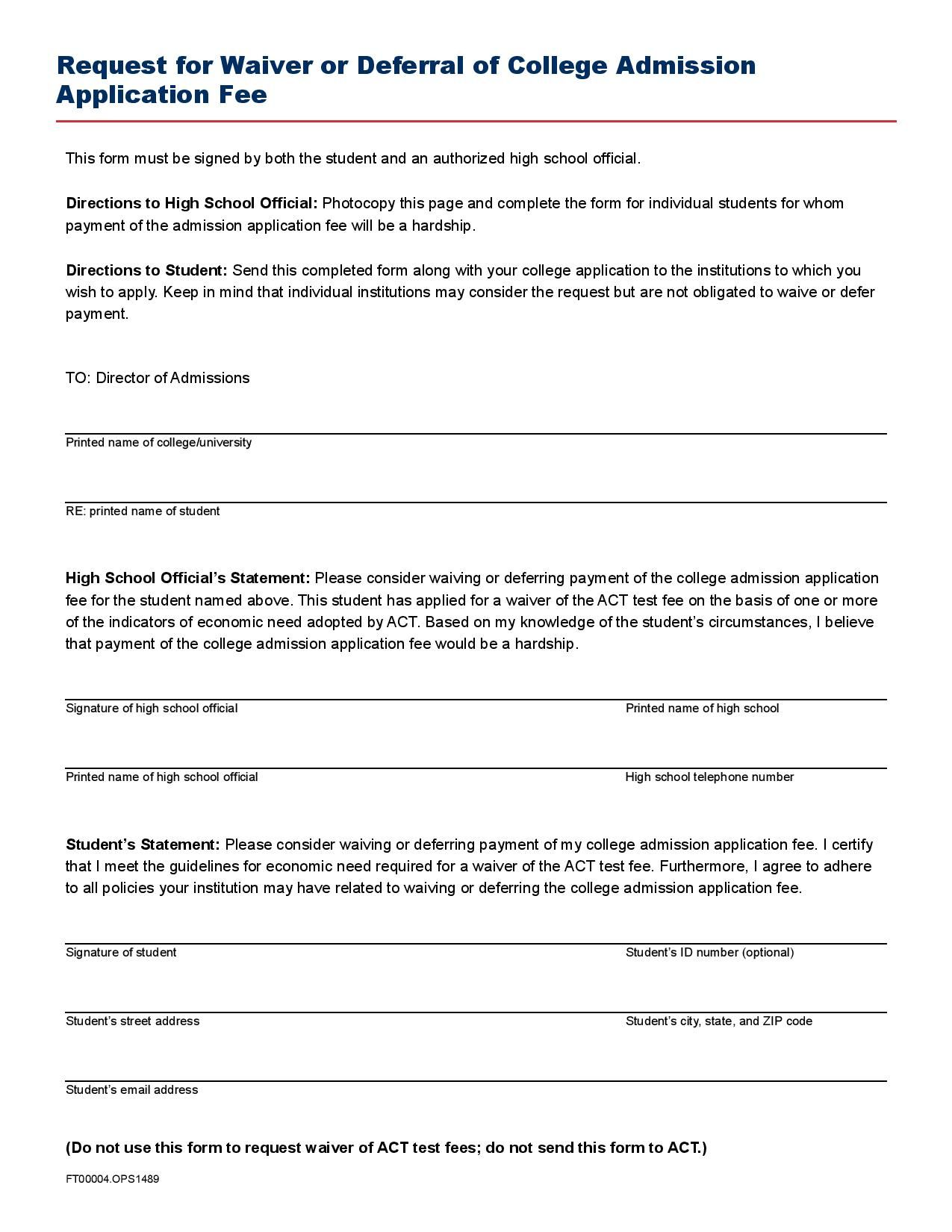 Request For Waiver Or Deferral Of College Admission Application