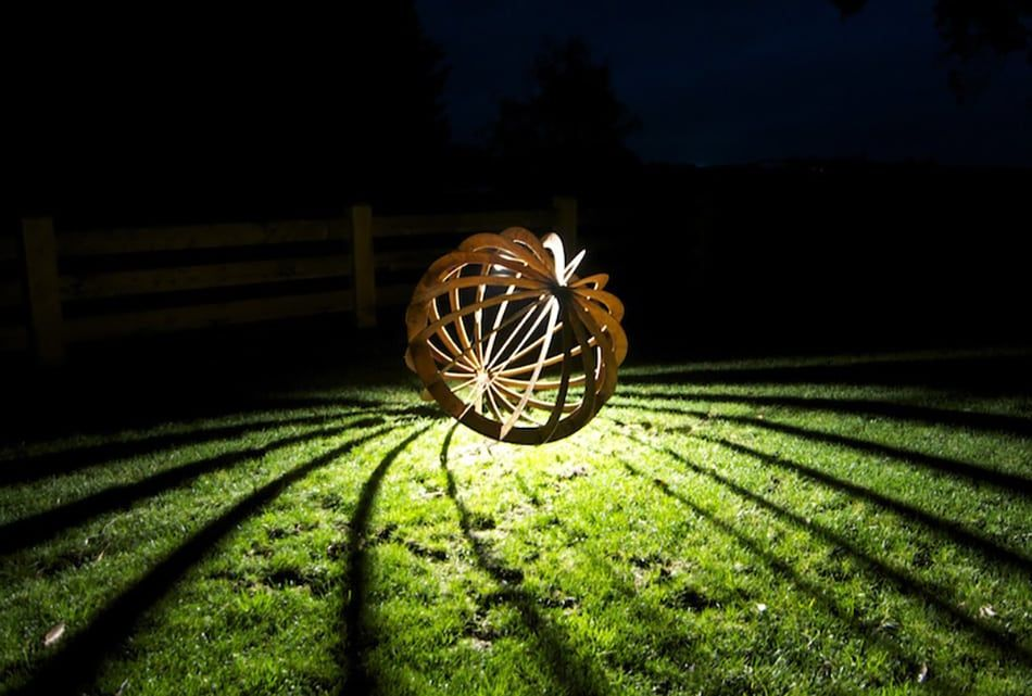 Butterfly Sphere  Glowing Garden Sculpture by is part of Butterfly garden Sculpture - The Butterfly Sphere is a stylish and contemporary glowing garden sculpture  It creates dazzling shadow patterns on surrounding lawns, gardens or pavement