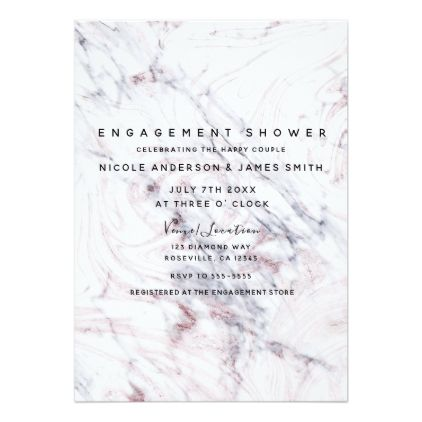Touch of Rose White Grey Marble Swirl Engagement Card Engagement