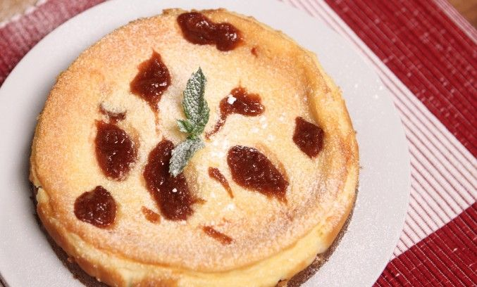 Rhubarb and marmalade baked cheesecake
