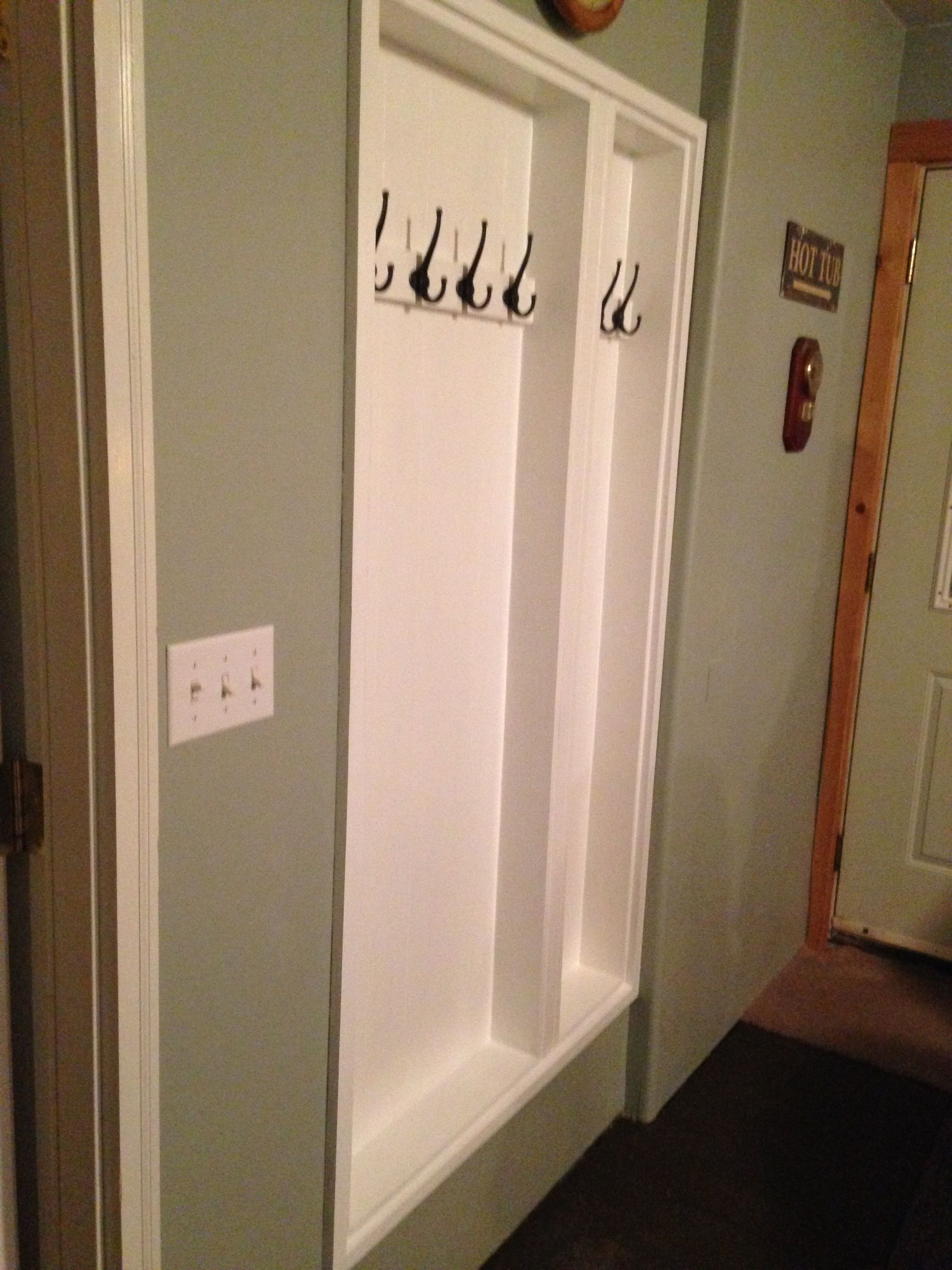 Between The Studs Coat Rack Hallway Storage Built In Bathroom Storage Home Diy