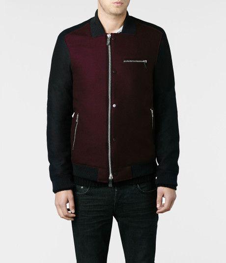 Allsaints Smythe Bomber Jacket in Red for Men (Oxblood)