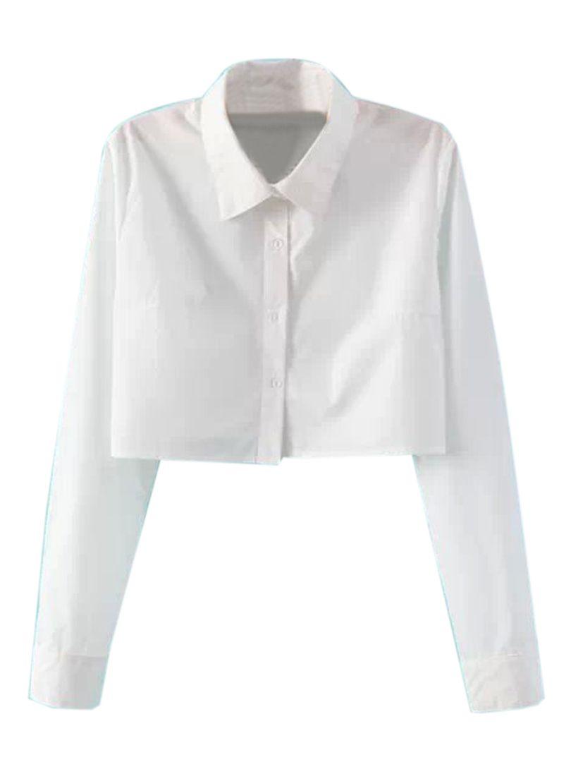 b9da7d33a9c17 White Long Sleeve Cropped Shirt