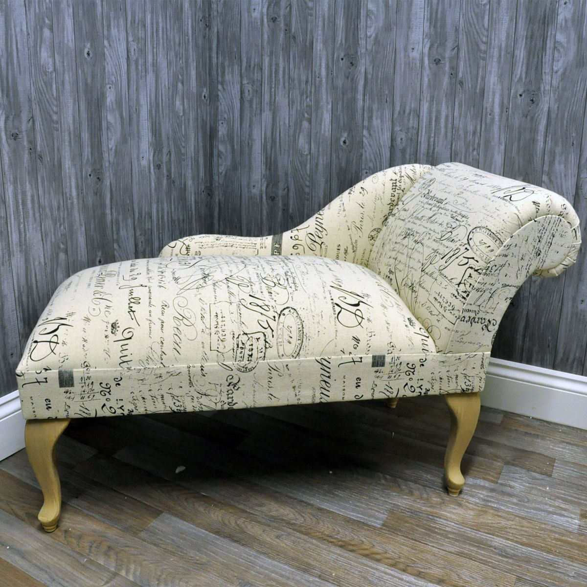 Printed Linen Calligraphy Script Chaise Longue Sofa : mini chaise lounge chairs - Sectionals, Sofas & Couches