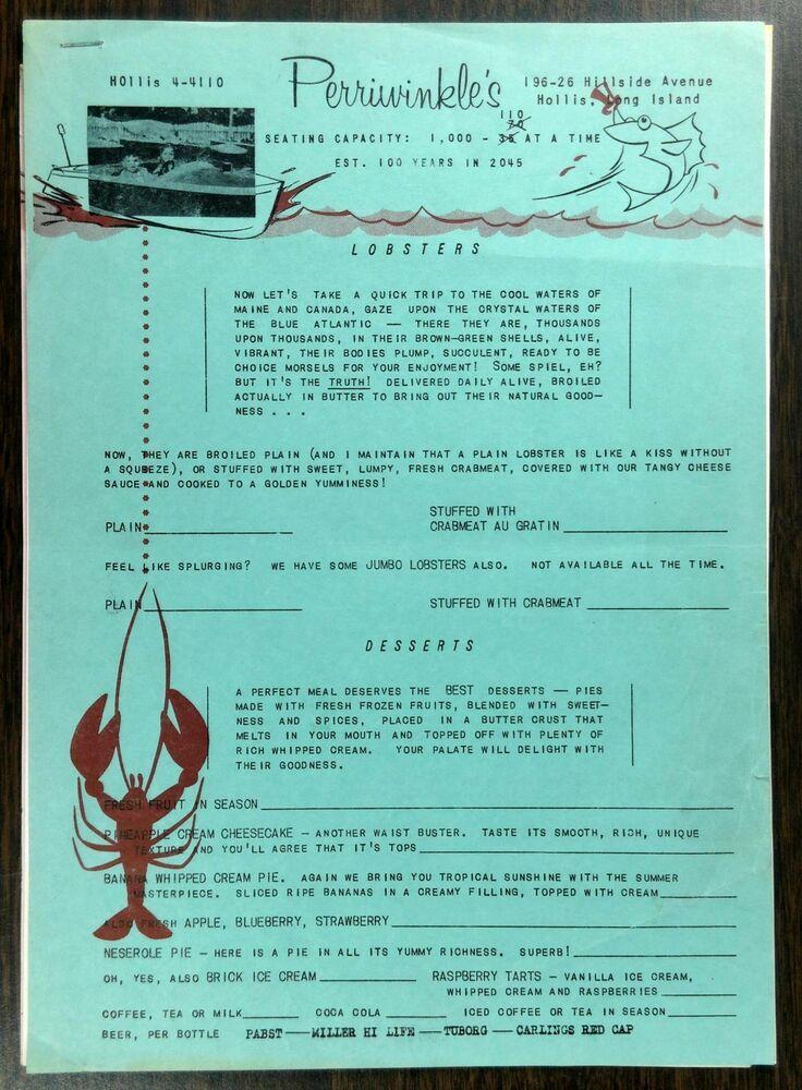 c1960's Original Menu PERRIWINKLES Restaurant Hollis Long