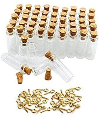Amazon com: JKLcom 1ML Small Mini Tall Clear Glass Bottles/Jars with