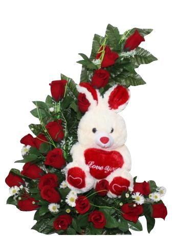 arreglo florale rosas rojas media luna de rosas ms