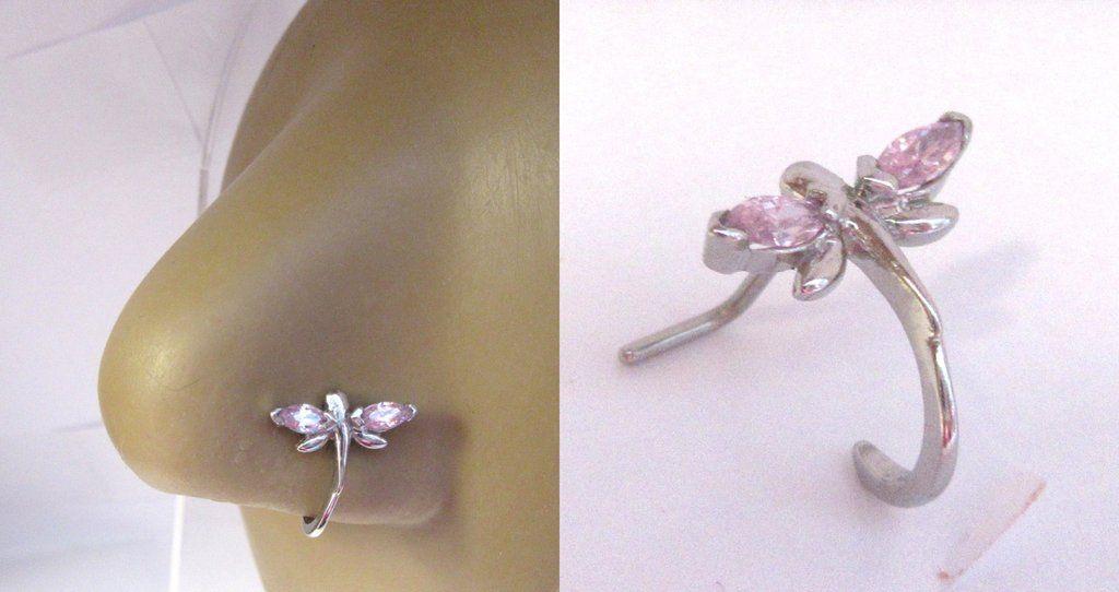 Surgical Steel Pink Dragonfly Crystal Bent L Shape Nose Ring Stud