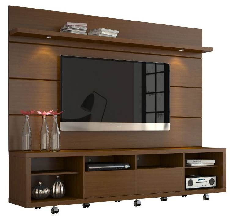 Contemporary Tv Entertainment Center In Nut Brown Living Room Tv Cabinet Wall Tv Unit Design Wall Unit Designs