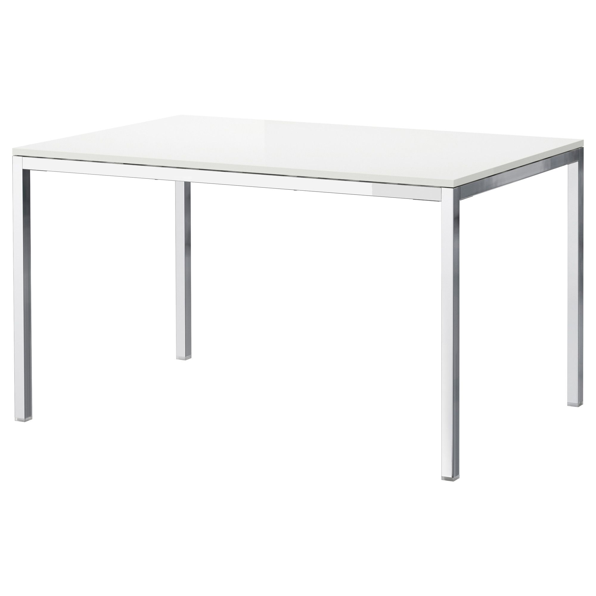 White Dining Table Ikea: Table, Chrome Plated, High Gloss White, 53 1/8x33 1/2