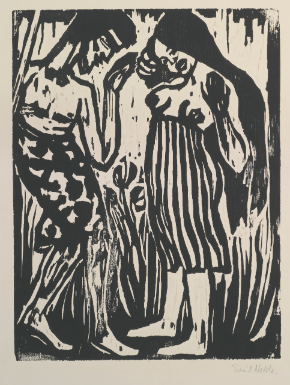 Emil Nolde 1867 - 1956 TÄNDELEI (SCHIEFLER W134) Estimate: 15,000 - 20,000 USD Woodcut, 1917, the third (final) state, signed in pencil, from the edition of 12, on wove paper 311 by 239 mm 12 1/4 by 9 3/8 in sheet 410 by 340 mm 16 1/8 by 13 3/8 in