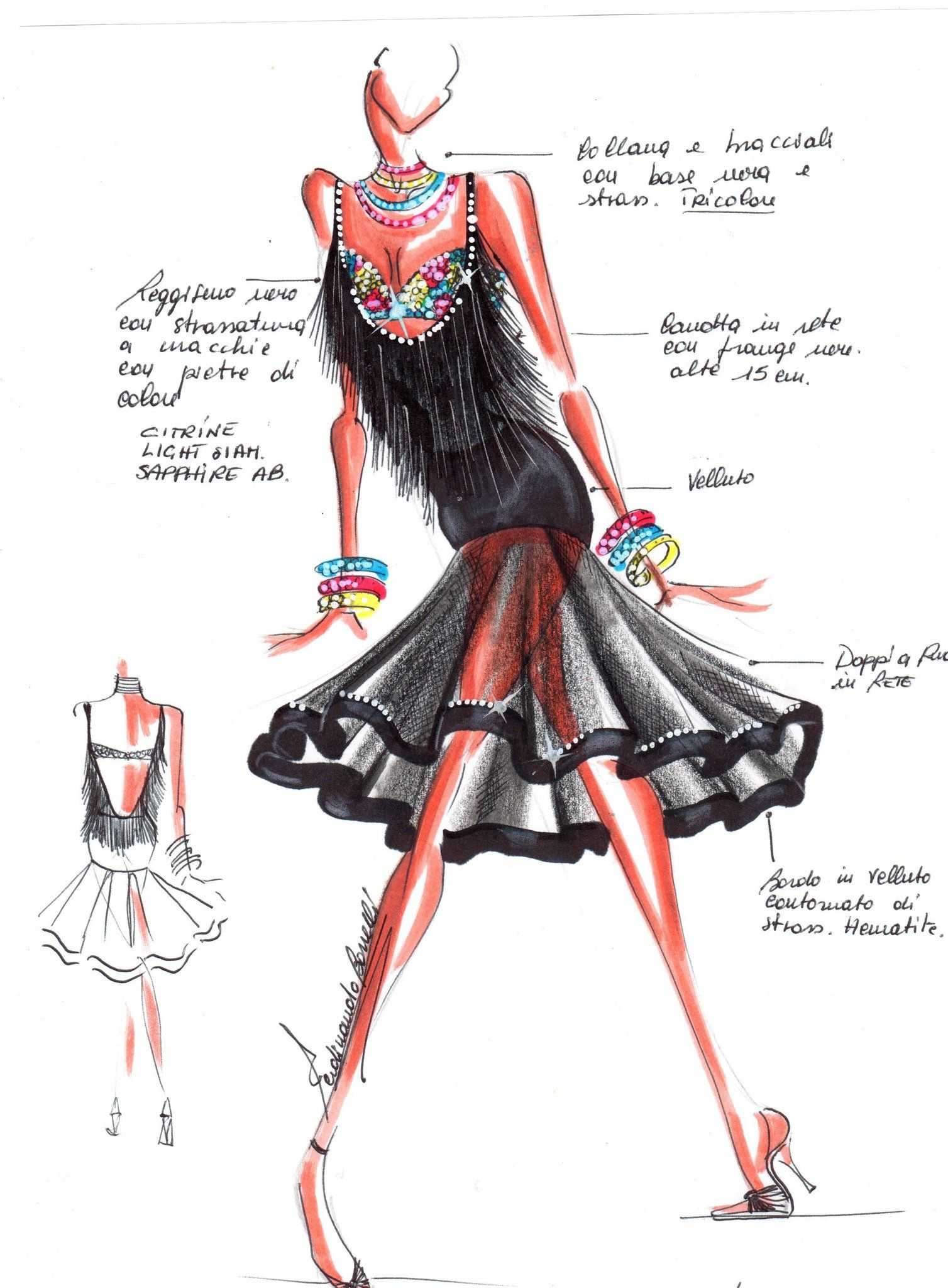 latin 2 | latin & ballroom costume illustration | pinterest